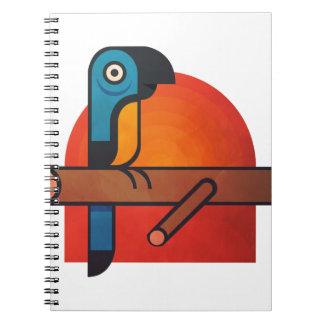 Parrot cartoon art spiral notebook
