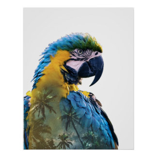 Parrot Double Exposure Poster