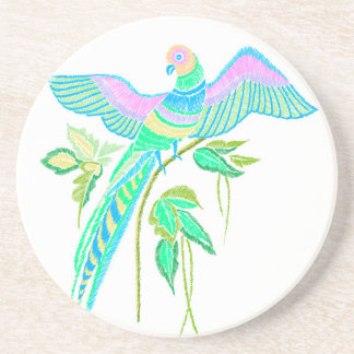 Parrot embroidery coaster