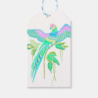 Parrot embroidery gift tags