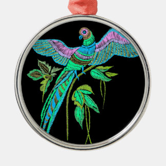 Parrot embroidery metal ornament