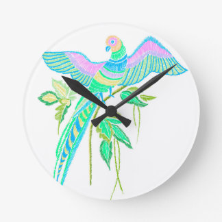 Parrot embroidery round clock