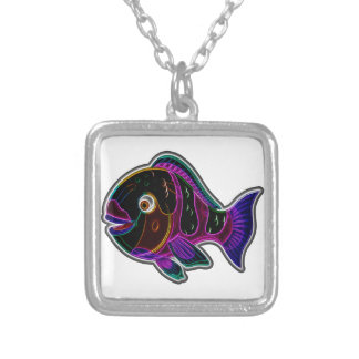 Parrot fish silver plated necklace