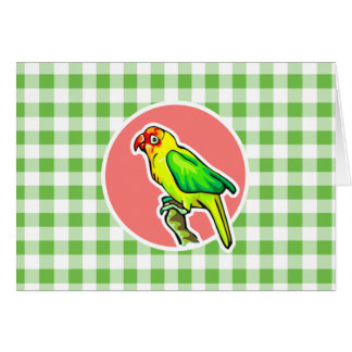 Parrot; Green Gingham Greeting Card