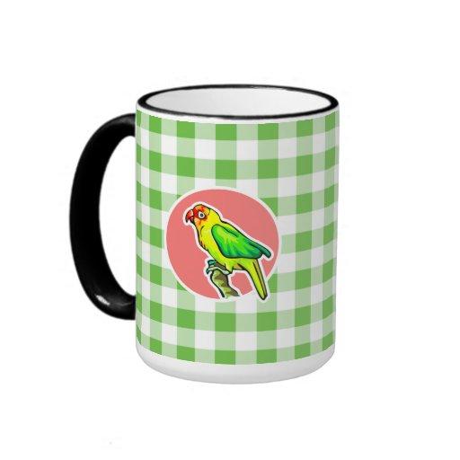 Parrot; Green Gingham Mugs
