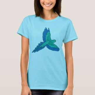 Parrot in Flight, Aqua and Cobalt Blue T-Shirt