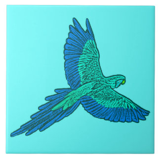 Parrot in Flight, Aqua and Cobalt Blue Tile