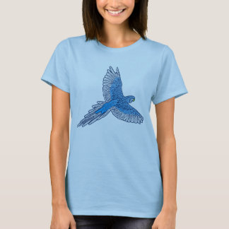 Parrot in Flight, Cerulean Blue and White T-Shirt