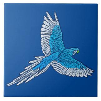 Parrot in Flight, Cobalt Blue and White Ceramic Tiles
