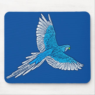 Parrot in Flight, Cobalt Blue and White Mouse Pad