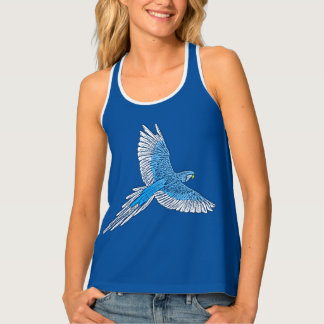 Parrot in Flight, Cobalt Blue and White Tank Top