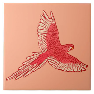 Parrot in Flight, Coral Orange and Cream Ceramic Tiles