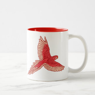 Parrot in Flight, Coral Red, Orange, and Peach Two-Tone Coffee Mug