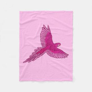 Parrot in Flight, Fuchsia and Ice Pink Fleece Blanket