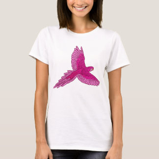 Parrot in Flight, Fuchsia and Ice Pink T-Shirt