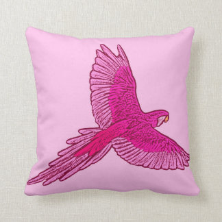 Parrot in Flight, Fuchsia and Ice Pink Throw Pillow