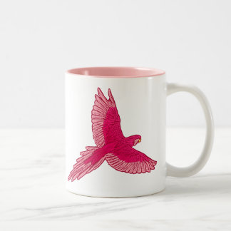 Parrot in Flight, Fuchsia and Light Pink Two-Tone Coffee Mug