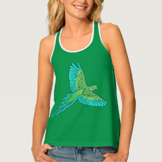 Parrot in Flight, Jade Green and Turquoise Tank Top