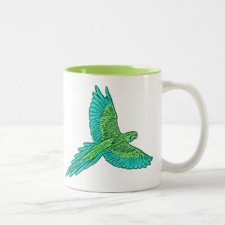 Parrot in Flight, Lime Green and Turquoise Two-Tone Coffee Mug