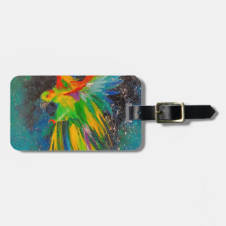 Parrot in flight luggage tag