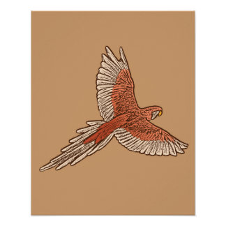 Parrot in Flight, Rust, Cream and Camel Tan Poster