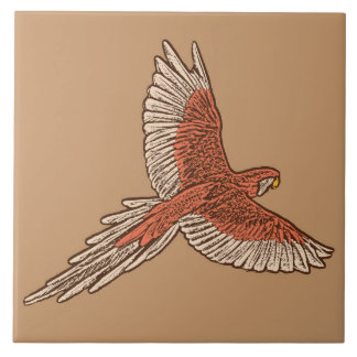 Parrot in Flight, Rust, Cream and Camel Tan Tile