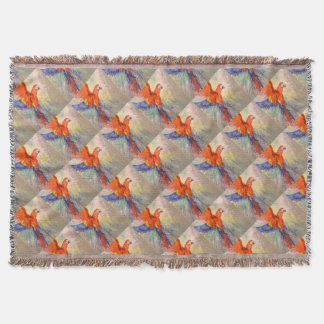 Parrot in flight throw blanket