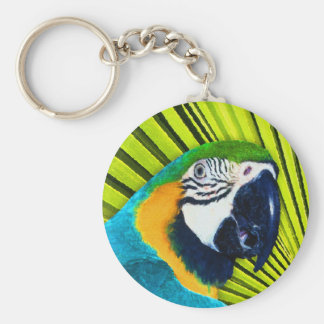 Parrot In Palm Tree Basic Round Button Keychain