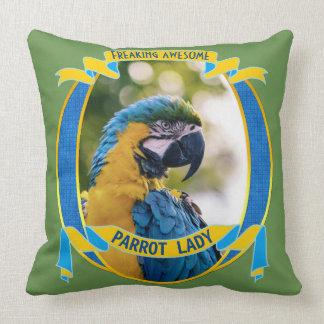 Parrot Lady Freaking Awesome Macaw Bird Wildlife Throw Pillow