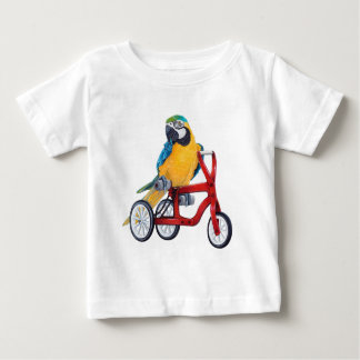 Parrot Macaw on Tricycle bike Baby T-Shirt