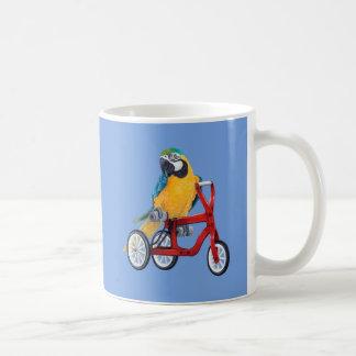 Parrot Macaw on Tricycle bike Coffee Mug