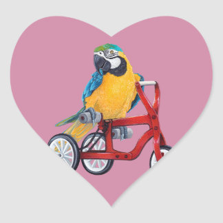 Parrot Macaw on Tricycle bike Heart Sticker