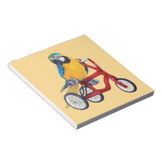 Parrot Macaw on Tricycle bike Notepad