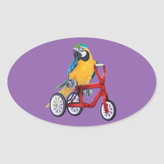 Parrot Macaw on Tricycle bike Oval Sticker