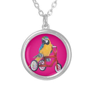 Parrot Macaw on Tricycle bike Silver Plated Necklace