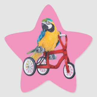 Parrot Macaw on Tricycle bike Star Sticker