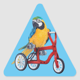 Parrot Macaw on Tricycle bike Triangle Sticker
