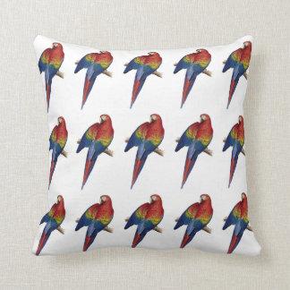 Parrot Macaw Red Yellow Blue Green Bird Throw Pillows
