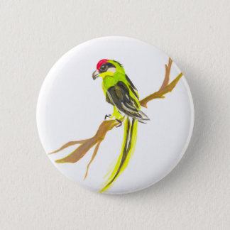 Parrot on a branch. Watercolor painting. 2 Inch Round Button