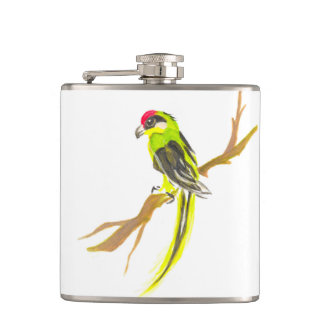 Parrot on a branch. Watercolor painting. China art Hip Flask