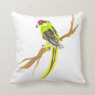 Parrot on a branch. Watercolor painting. China art Throw Pillow