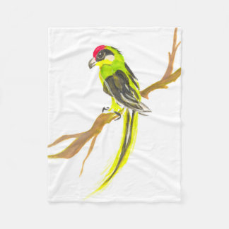 Parrot on a branch. Watercolor painting. Fleece Blanket