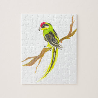 Parrot on a branch. Watercolor painting. Jigsaw Puzzle