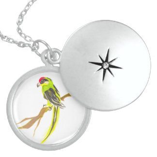 Parrot on a branch. Watercolor painting. Sterling Silver Necklace