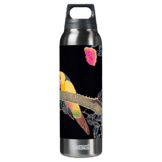Parrot on the Branch of a Flowering Rose Bush 16 Oz Insulated SIGG Thermos Water Bottle