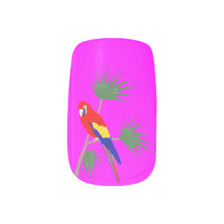 Parrot on tropical plant minx nail art