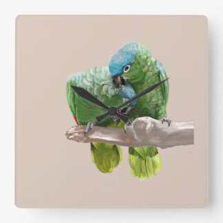 Parrot Pair Square Wall Clock