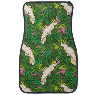 Parrot Pattern With Palm Leaves Floor Mat