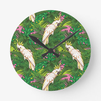 Parrot Pattern With Palm Leaves Wall Clock