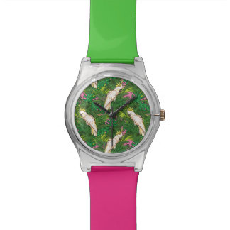 Parrot Pattern With Palm Leaves Wrist Watch